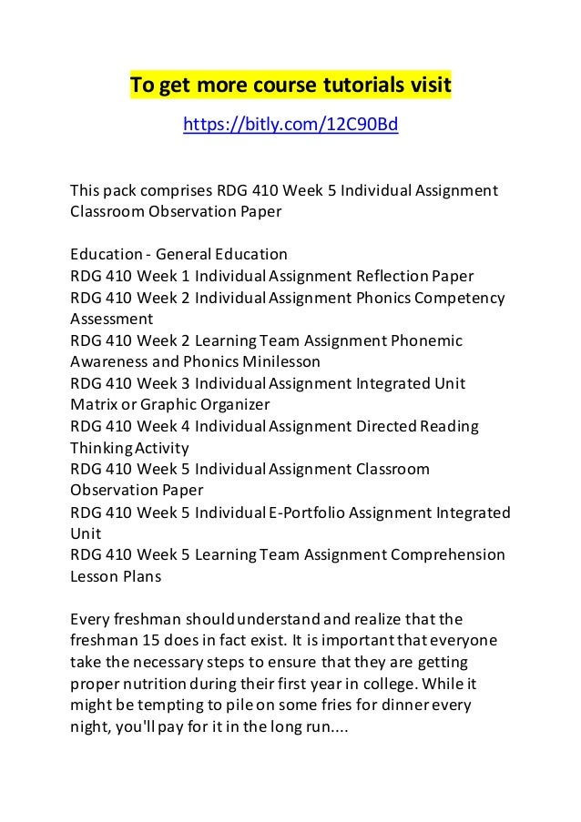 rdg week individual assignment classroom observation paper  assignment classroom observation paper to get more course tutorials bitly com 12c90bd this