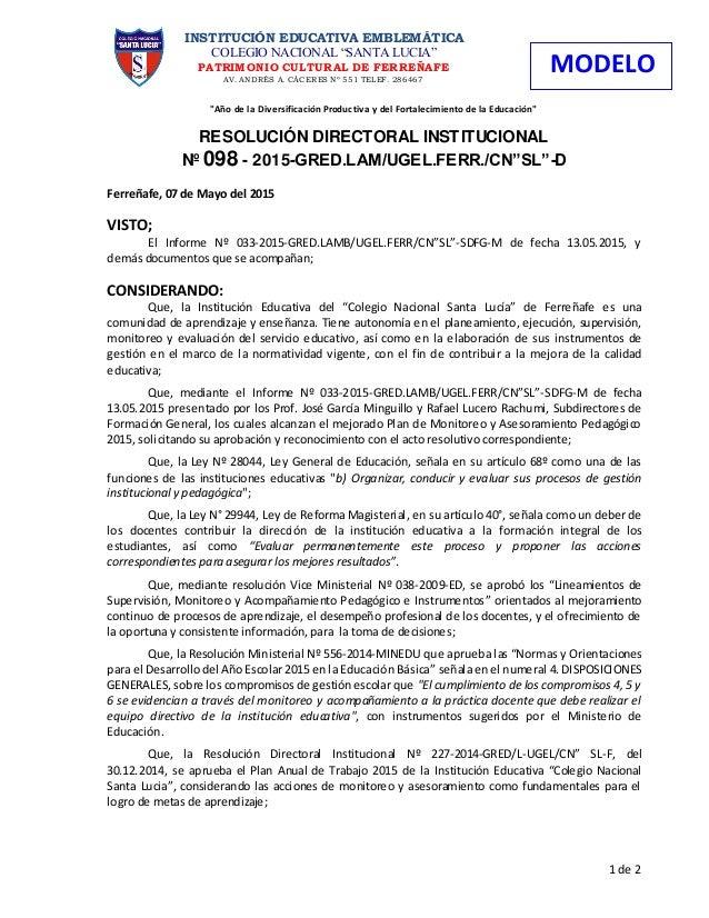 """""""Año de la Diversificación Productiva y del Fortalecimiento de la Educación"""" RESOLUCIÓN DIRECTORAL INSTITUCIONAL Nº 098 - ..."""
