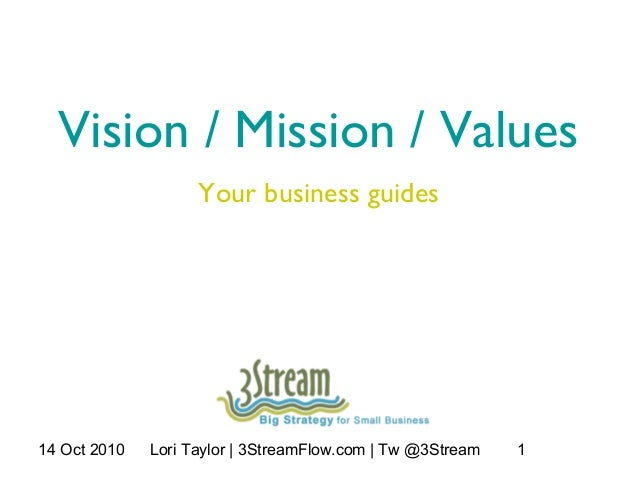 14 Oct 2010 Lori Taylor | 3StreamFlow.com | Tw @3Stream 1 Vision / Mission / Values Your business guides