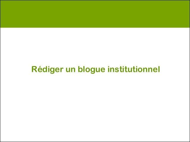 Rédiger un blogue institutionnel