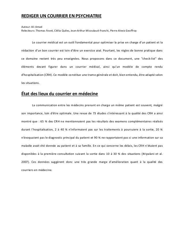 REDIGER UN COURRIER EN PSYCHIATRIE Auteur: Ali Amad Relecteurs: Thomas Fovet, Clélia Quiles, Jean-Arthur Micoulaud-Franchi...