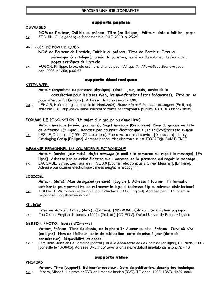 REDIGER UNE BIBLIOGRAPHIE                                   supports papiersOUVRAGES     NOM de lauteur, Initiale du préno...