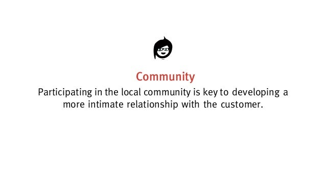 Community Participating in the local community is key todevelopinga moreintimaterelationshipwiththecustomer.