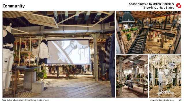 www.retaildesigninstitute.org 38What Makes a Destination? © Retail Design Institute 2016 Space Ninety 8 by Urban Outfitter...