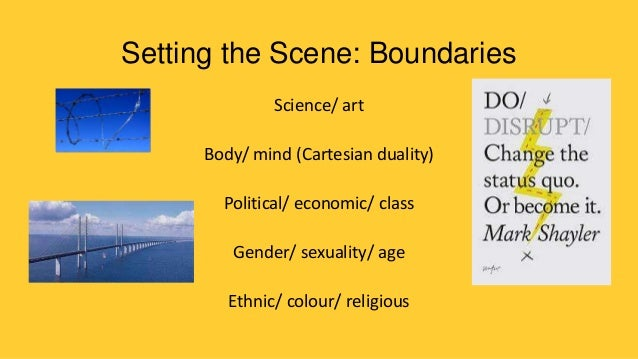Setting the Scene: Boundaries Science/ art  Body/ mind (Cartesian duality) Political/ economic/ class Gender/ sexuality/ a...