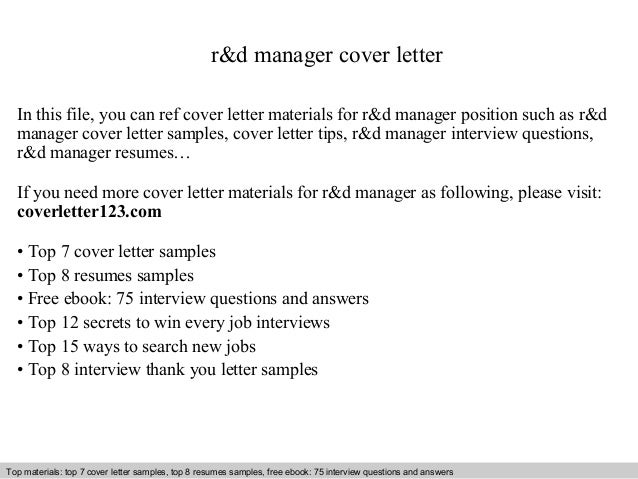 Rd Manager Cover Letter