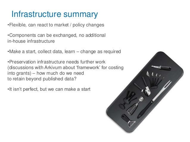 Infrastructure summary •Flexible, can react to market / policy changes •Components can be exchanged, no additional in-hous...