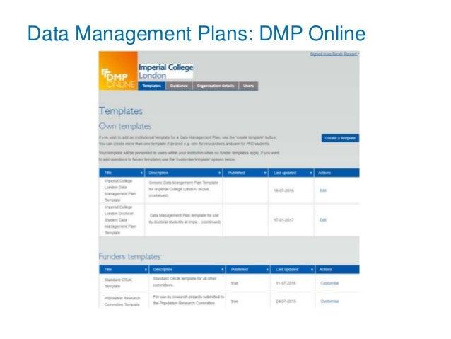 Data Management Plans: DMP Online