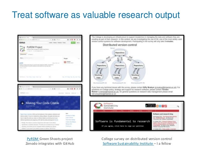 Treat software as valuable research output PyRDM Green Shoots project Zenodo integrates with GitHub College survey on dist...