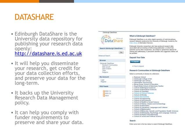 DATASHARE  Edinburgh DataShare is the University data repository for publishing your research data openly: http://datasha...