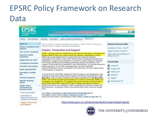ESRC Research Data Policy • The ESRC updated its Research Data Policy* in March 2015. The updated policy is underpinned by...
