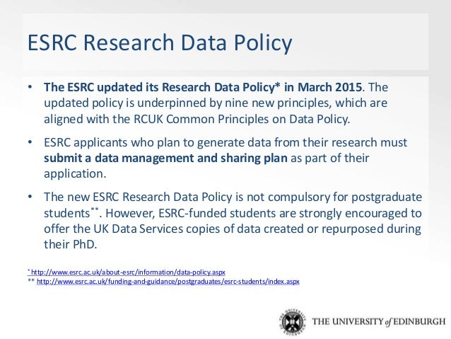 RCUK Concordat Research Councils UK (RCUK) published a draft Concordat on Open Research Data (17 August 2015): • Sets out ...