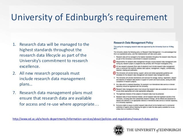 RDM Services & support at the University of Edinburgh