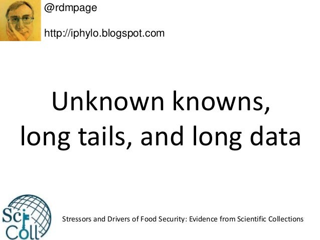 Unknown knowns, long tails, and long data @rdmpage http://iphylo.blogspot.com Stressors and Drivers of Food Security: Evid...