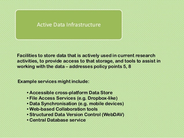 Data StewardshipTools and services to aid in the description, deposit, and on-goingmanagement of completed research data o...