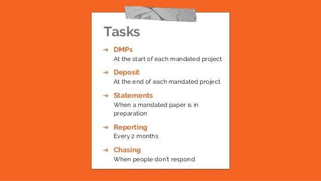 Tasks ➔ DMPs At the start of each mandated project ➔ Deposit At the end of each mandated project ➔ Statements When a manda...