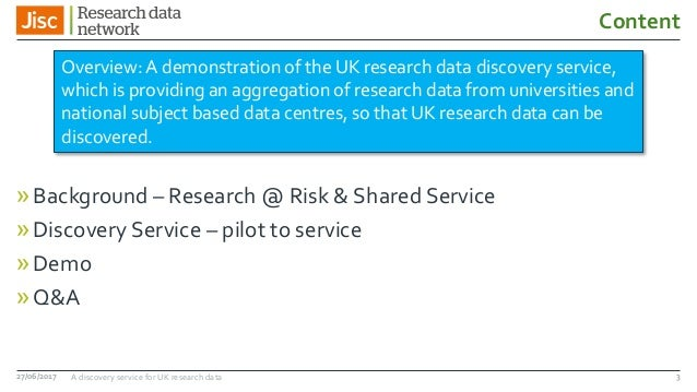 A discovery service for UK research data Slide 3