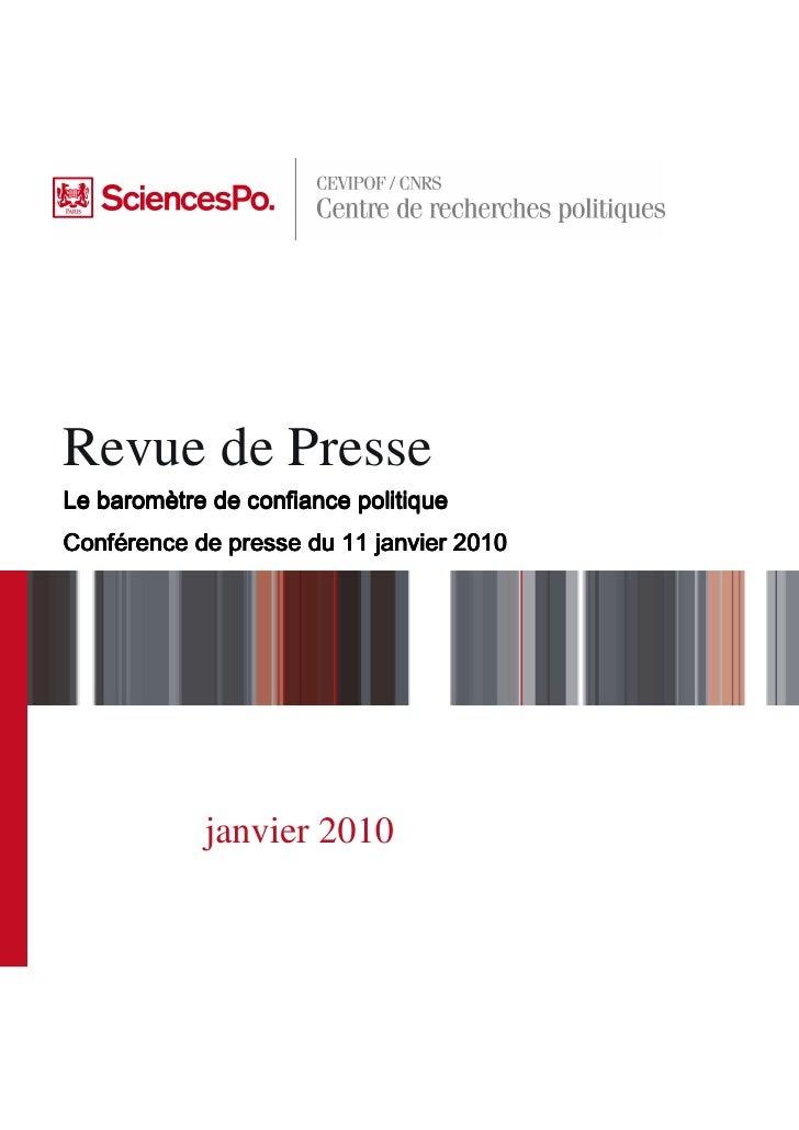 Revue de Presse Le baromètre de confiance politique    baromè Confé Conférence de presse du 11 janvier 2010               ...
