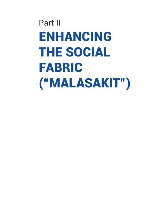"Part II ENHANCING THE SOCIAL FABRIC (""MALASAKIT"")"