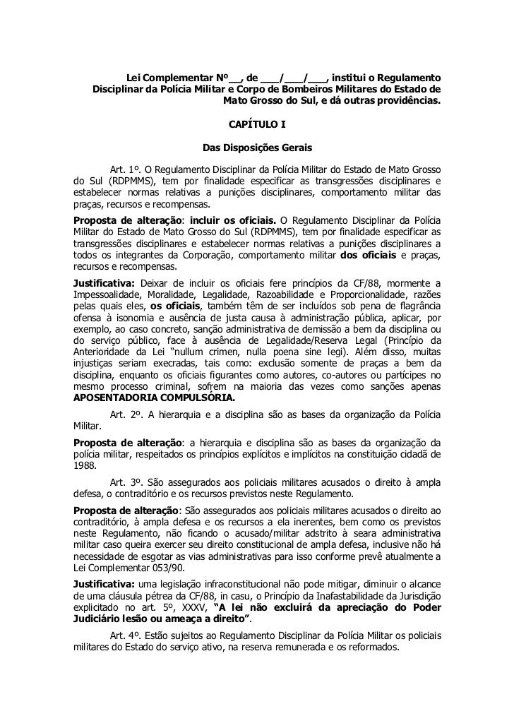 Lei Complementar Nº__, de ___/___/___, institui o Regulamento     Disciplinar da Polícia Militar e Corpo de Bombeiros Mili...