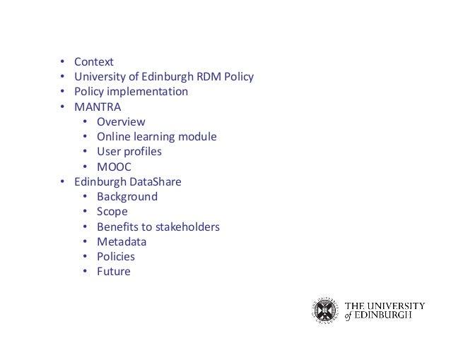 Research Data Services @ Edinburgh: MANTRA & Edinburgh DataShare Slide 2