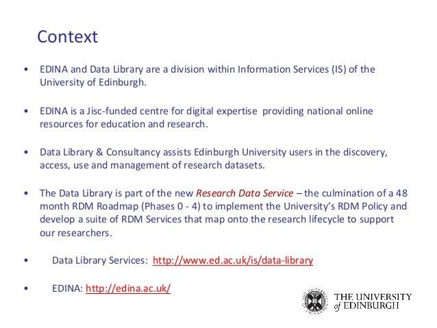 Research Data Services @ Edinburgh: MANTRA & Edinburgh DataShare Slide 3