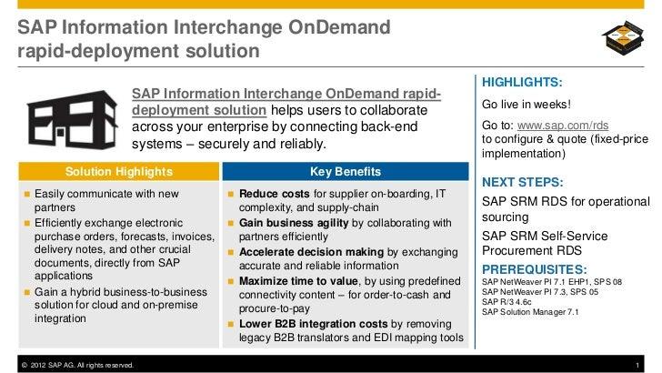 SAP Information Interchange OnDemandrapid-deployment solution                                                             ...