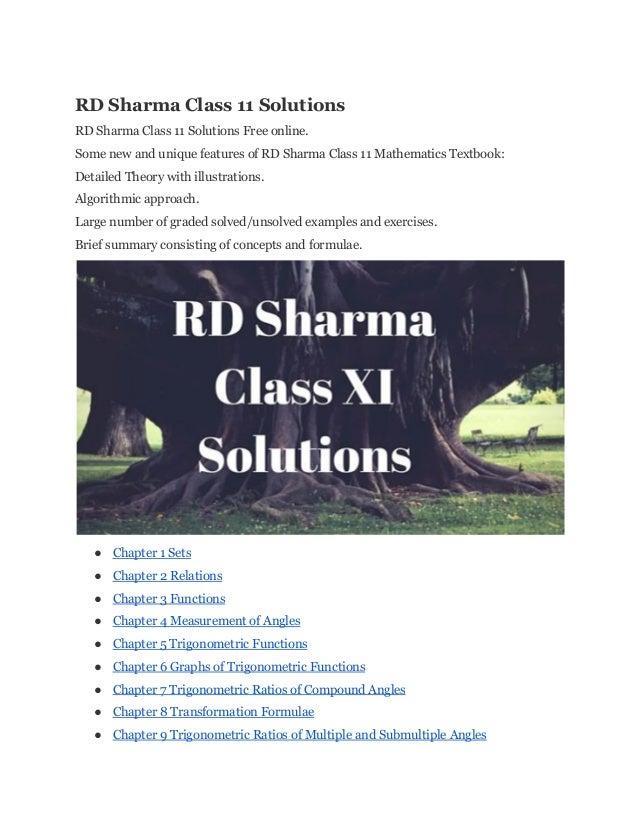 Rd sharma class11solutions