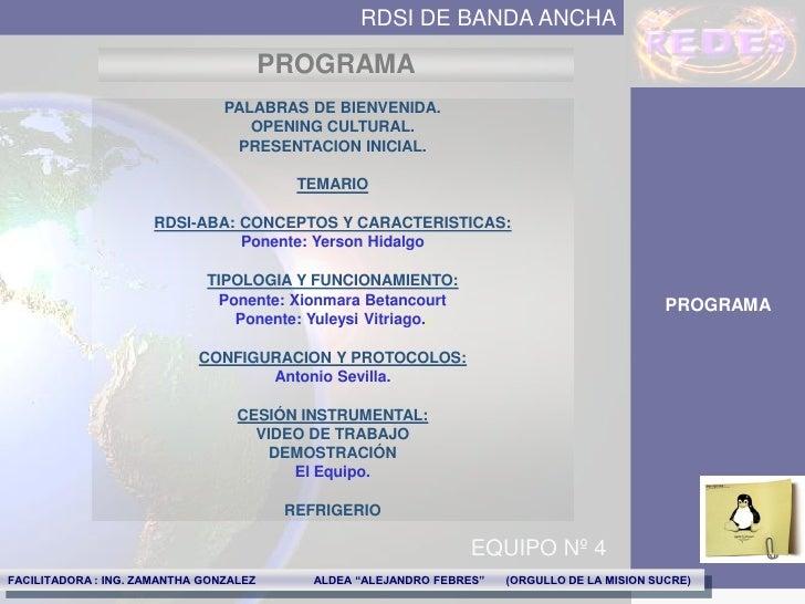 RDSI DE BANDA ANCHA                                          PROGRAMA                                 PALABRAS DE BIENVENI...