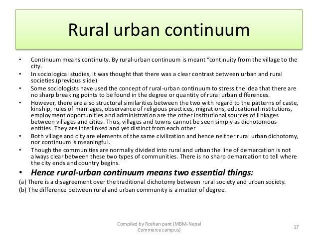 define rural urban continuum