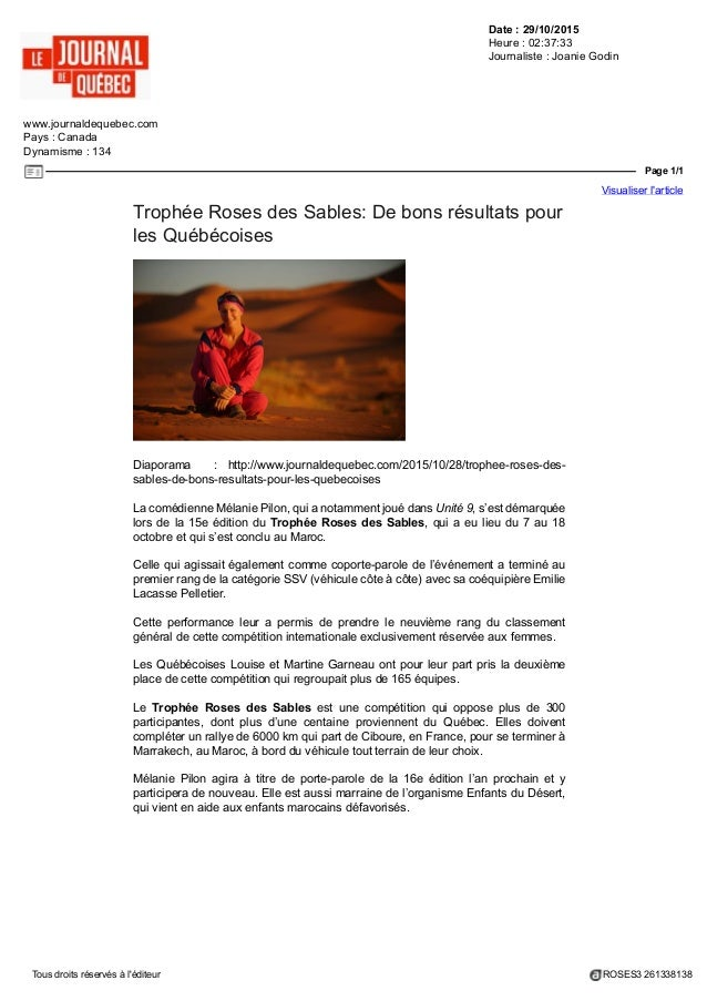 Date : 29/10/2015 Heure : 02:37:33 Journaliste : Joanie Godin www.journaldequebec.com Pays : Canada Dynamisme : 134 Page 1...
