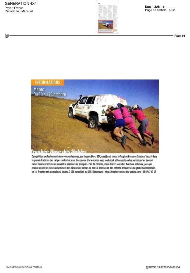 GENERATION 4X4 Date : JAN 16Pays : France Périodicité : Mensuel Page de l'article : p.92 Page 1/1 ROSES3 8726536400504Tous...
