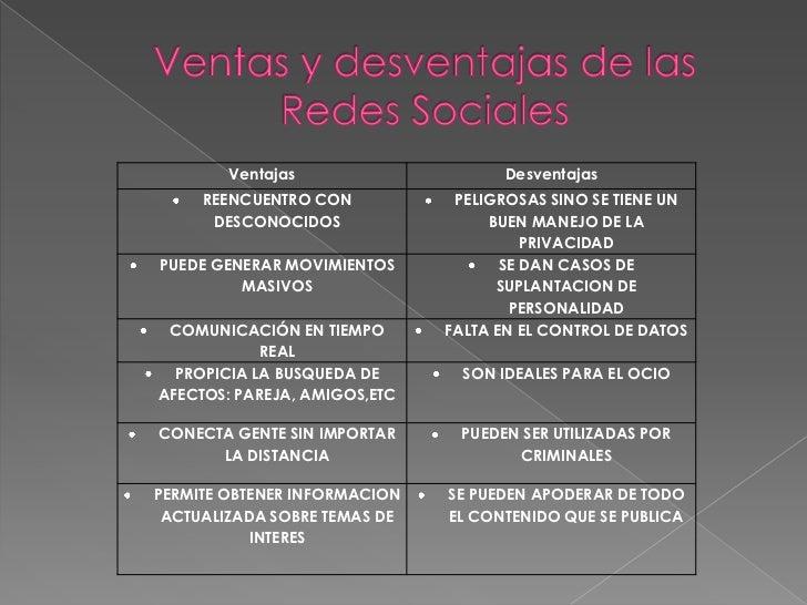 Ventajas                    Desventajas     REENCUENTRO CON           PELIGROSAS SINO SE TIENE UN      DESCONOCIDOS       ...