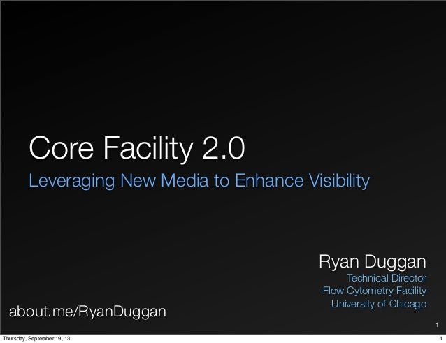 Core Facility 2.0 Leveraging New Media to Enhance Visibility Ryan Duggan Technical Director Flow Cytometry Facility Univer...