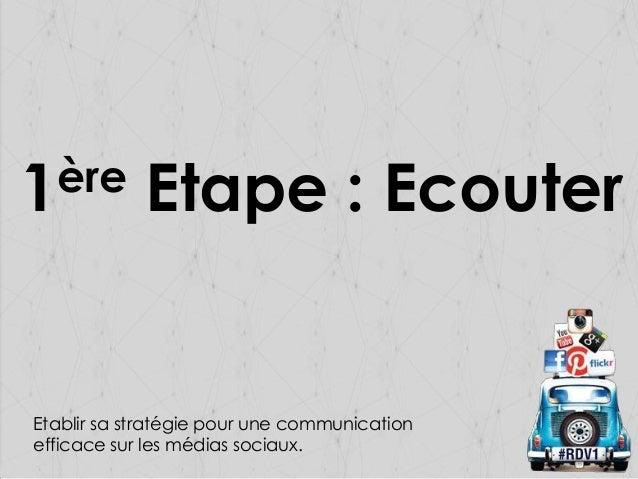 ère 1  Etape : Ecouter  Etablir sa stratégie pour une communication efficace sur les médias sociaux.