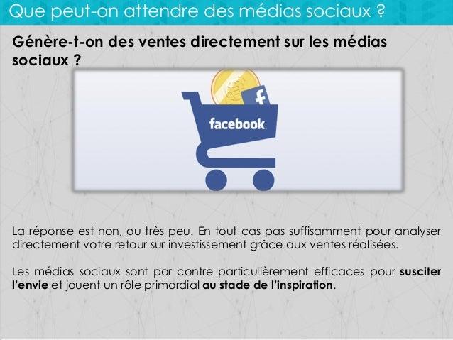 Que peut-on attendre des médias sociaux ? Génère-t-on des ventes directement sur les médias sociaux ?  La réponse est non,...