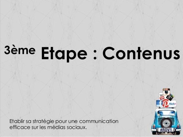 3ème  Etape : Contenus  Etablir sa stratégie pour une communication efficace sur les médias sociaux.