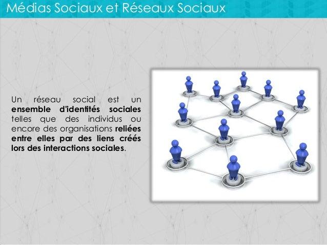 Médias Sociaux et Réseaux Sociaux  Un réseau social est un ensemble d'identités sociales telles que des individus ou encor...