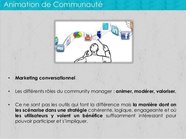 Animation de Communauté  •  Marketing conversationnel  •  Les différents rôles du community manager : animer, modérer, val...
