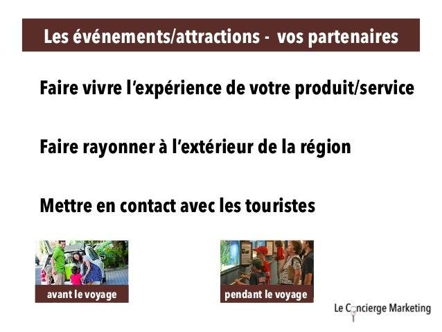 Mettre en contact avec les touristes Faire rayonner à l'extérieur de la région Faire vivre l'expérience de votre produit/s...