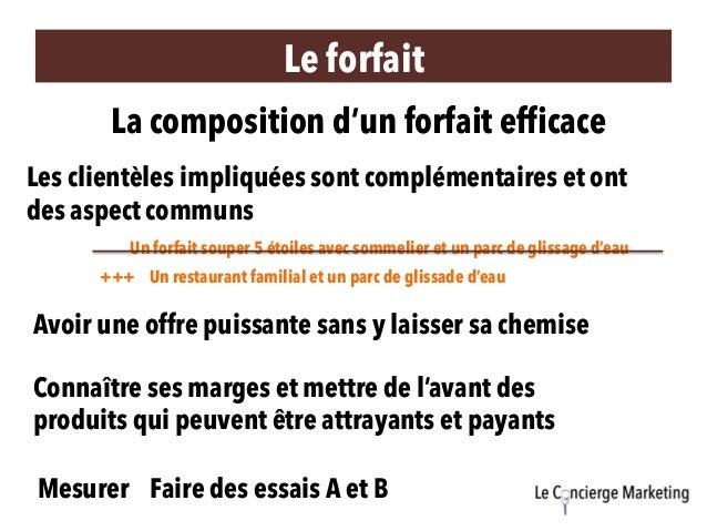 Le forfait La composition d'un forfait efficace Les clientèles impliquées sont complémentaires et ont des aspect communs U...