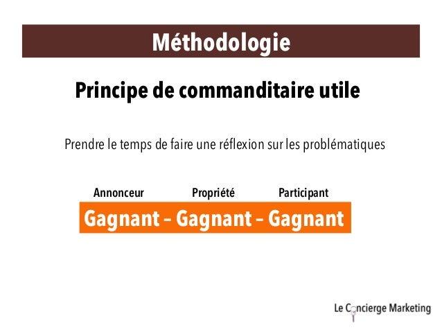 Méthodologie Principe de commanditaire utile Prendre le temps de faire une réflexion sur les problématiques Gagnant – Gagna...