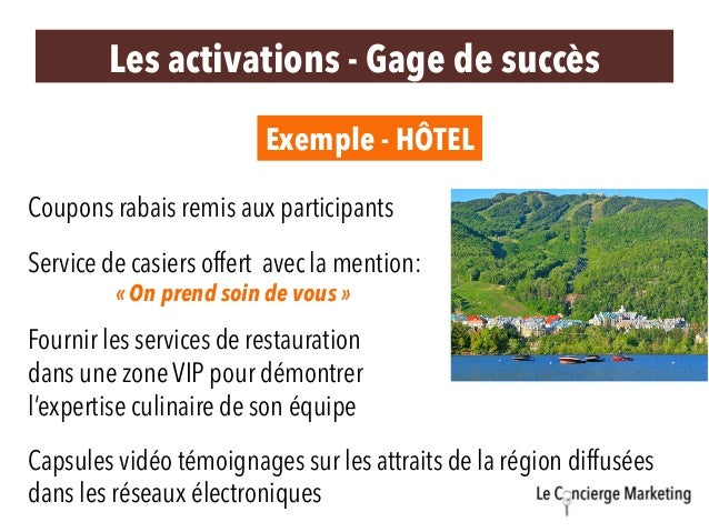 Les activations - Gage de succès Exemple - HÔTEL Service de casiers offert avec la mention: «On prend soin de vous» Coup...