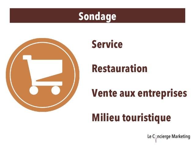 Sondage Service Restauration Vente aux entreprises Milieu touristique