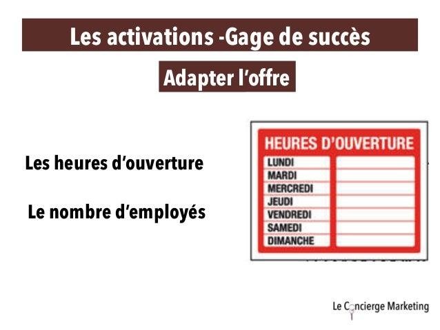 Les activations -Gage de succès Adapter l'offre Les heures d'ouverture Le nombre d'employés