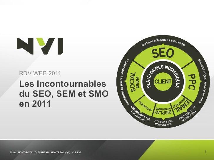 Les Incontournables du SEO, SEM et SMO en 2011 <ul><li>RDV WEB 2011 </li></ul>