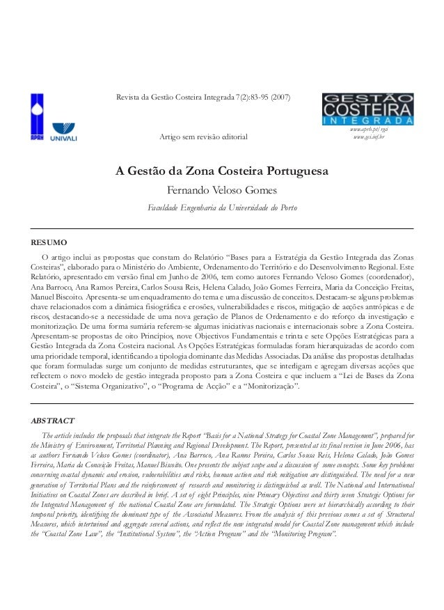 www.aprh.pt/rgci www.gci.inf.br A Gestão da Zona Costeira Portuguesa Fernando Veloso Gomes Faculdade Engenharia da Univers...