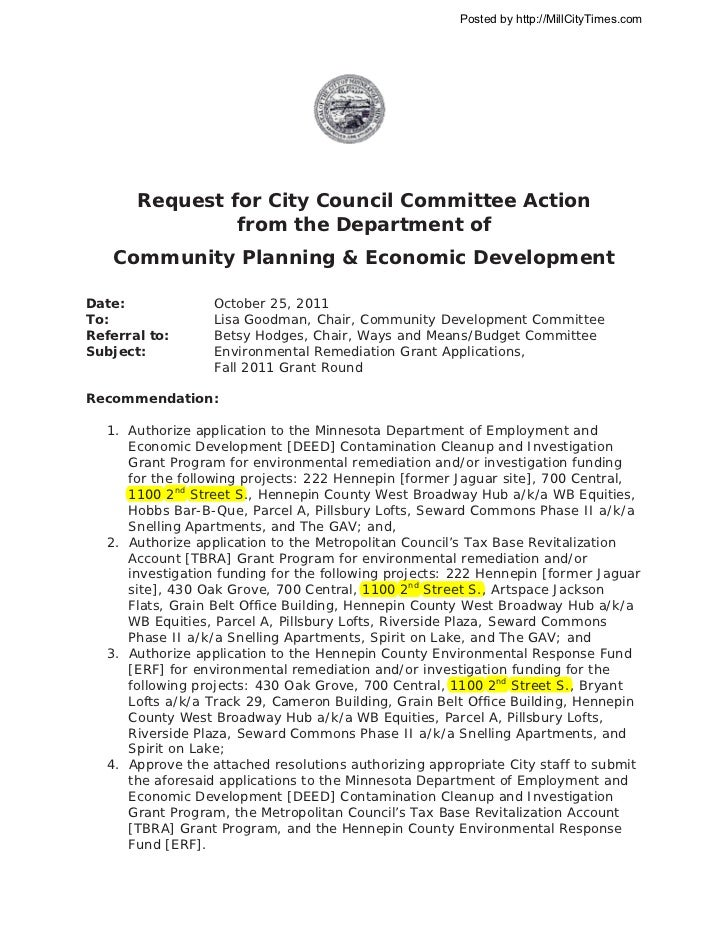 Posted by http://MillCityTimes.com       Request for City Council Committee Action                from the Department of  ...