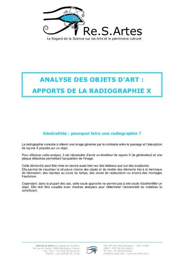 Re.S.Artes  Le Regard de la Science sur les Arts et le patrimoine culturel  ANALYSE DES OBJETS D'ART : APPORTS DE LA RADIO...