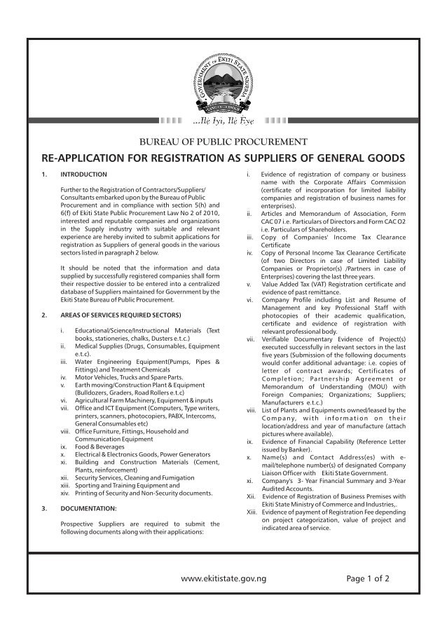 TENDERS: Re-Application For Registration As Suppliers Of General Goods